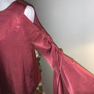 Lace Up Bell Sleeve Burgundy Blouse *size medium*